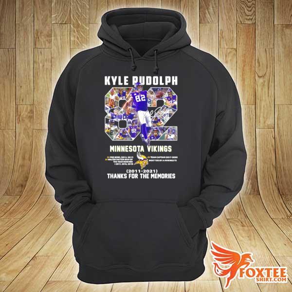 82 Kyle Rudolph Minnesota Vikings 2011 2021 Signature Thanks For The Memories s hoodie