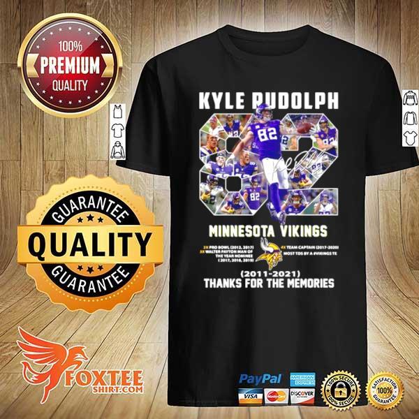 82 Kyle Rudolph Minnesota Vikings 2011 2021 Signature Thanks For The Memories shirt