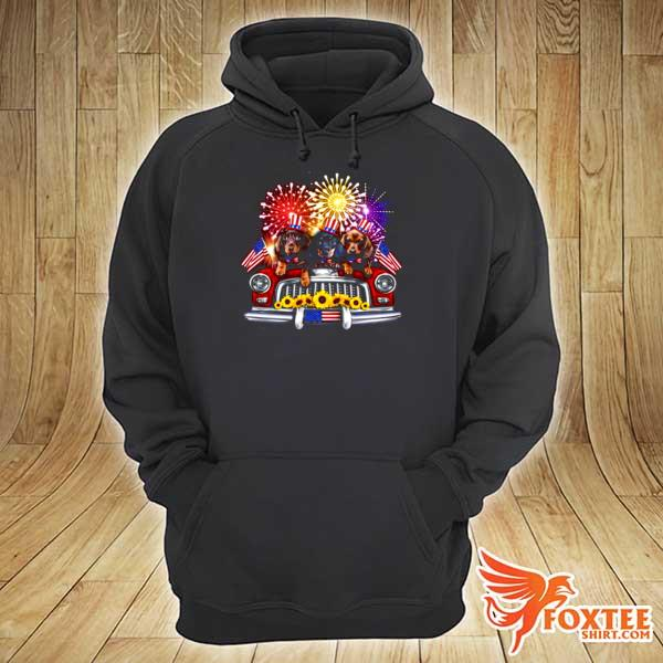 Dachshund Independence Day Truck American Flag hoodie