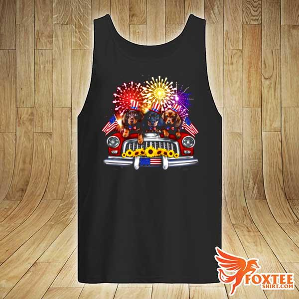 Dachshund Independence Day Truck American Flag tank-top