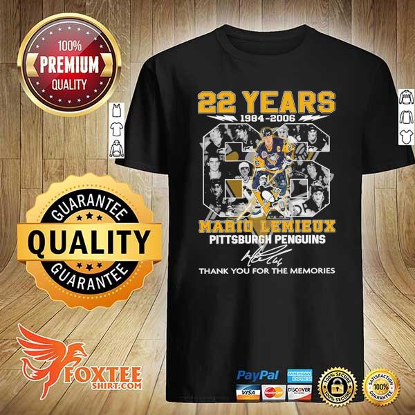 Original 22 years 1984 - 2006 mario lemieux pittsburgh penguins signature thank you for the memories shirt