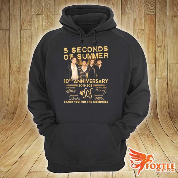 Original 5 seconds of summer 10th anniversary 2011 - 2021 signature thank you for the memories hoodie