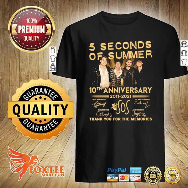 Original 5 seconds of summer 10th anniversary 2011 - 2021 signature thank you for the memories shirt