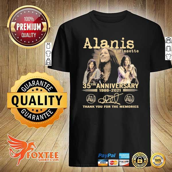 Original alanis morissette 35th anniversary 1986 - 2021 signature thank you for the memories shirt