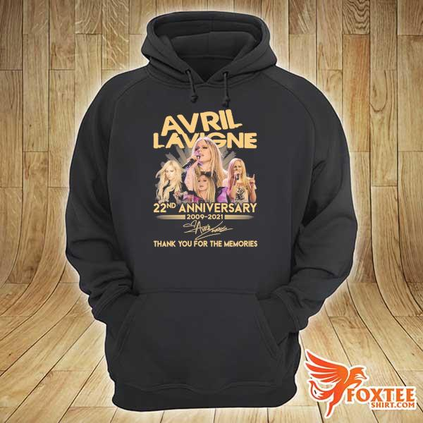 Original avril lavigne 22nd anniversary 2009 - 2021 signature thank you for the memories hoodie