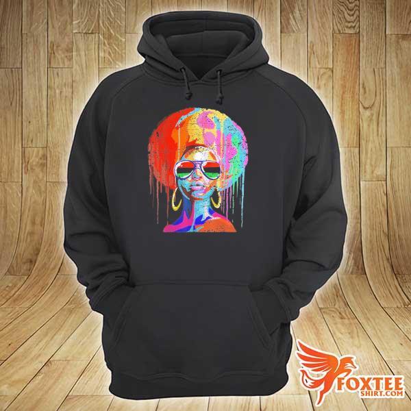 Original black queen afro melanin art hoodie