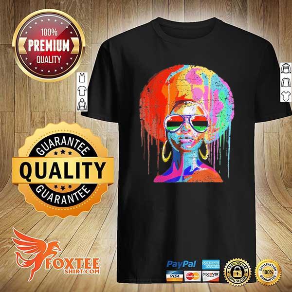 Original black queen afro melanin art shirt