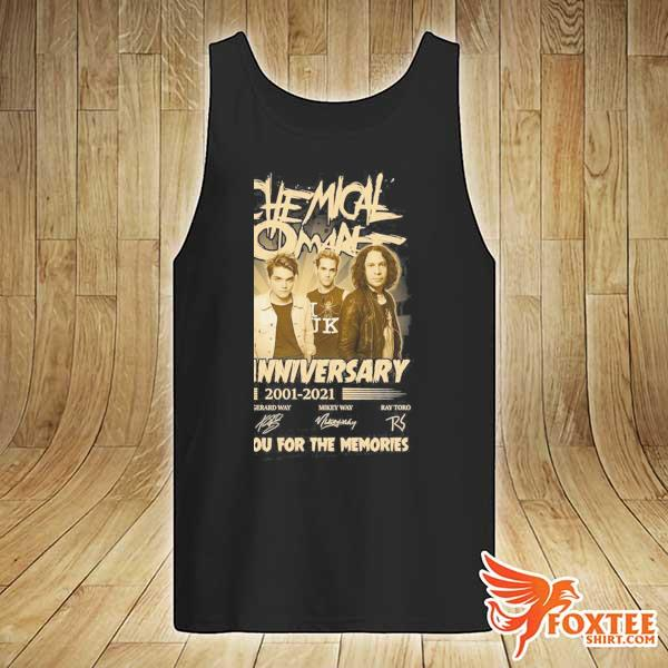 Original my chemical romance 20th anniversary 2001 - 2021 signatures thank you for the memories tank-top