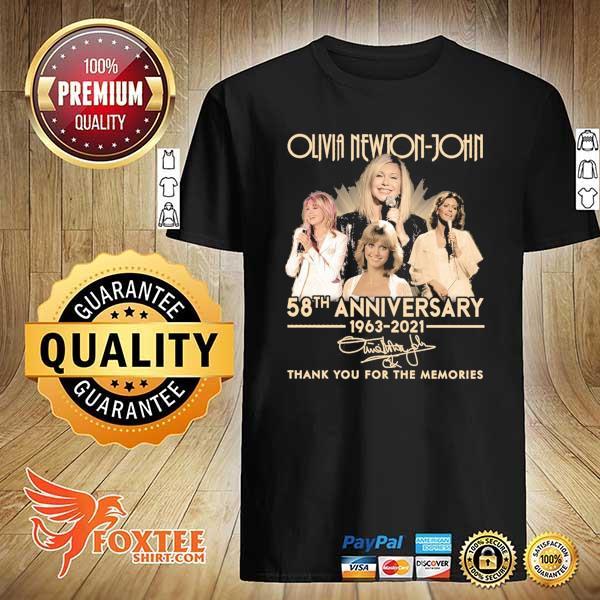 Original olivia newton-john 58th anniversary 1963 - 2021 signature thank you for the memories shirt