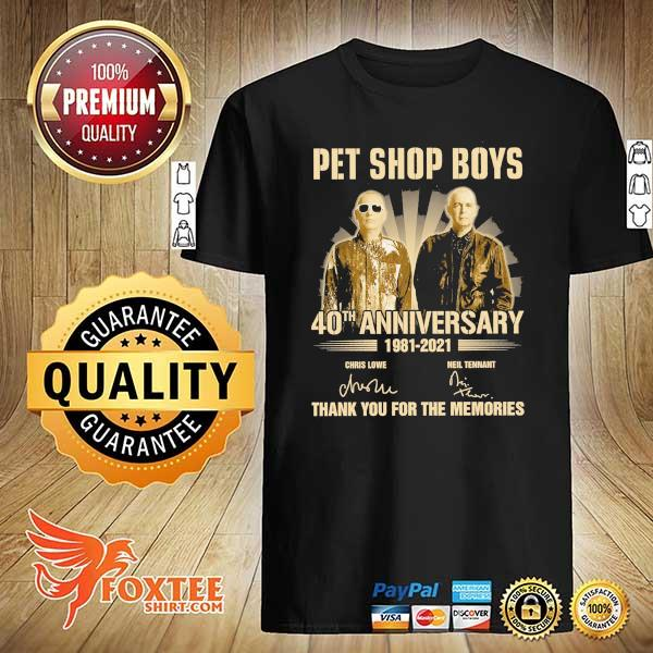 Original pet ship boys 40th anniversary 1981 - 2021 chris lowe neil tennant signatures thank you for the memories shirt
