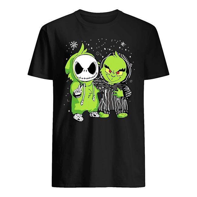Baby Jack Skellington and Grinch Christmas Shirt