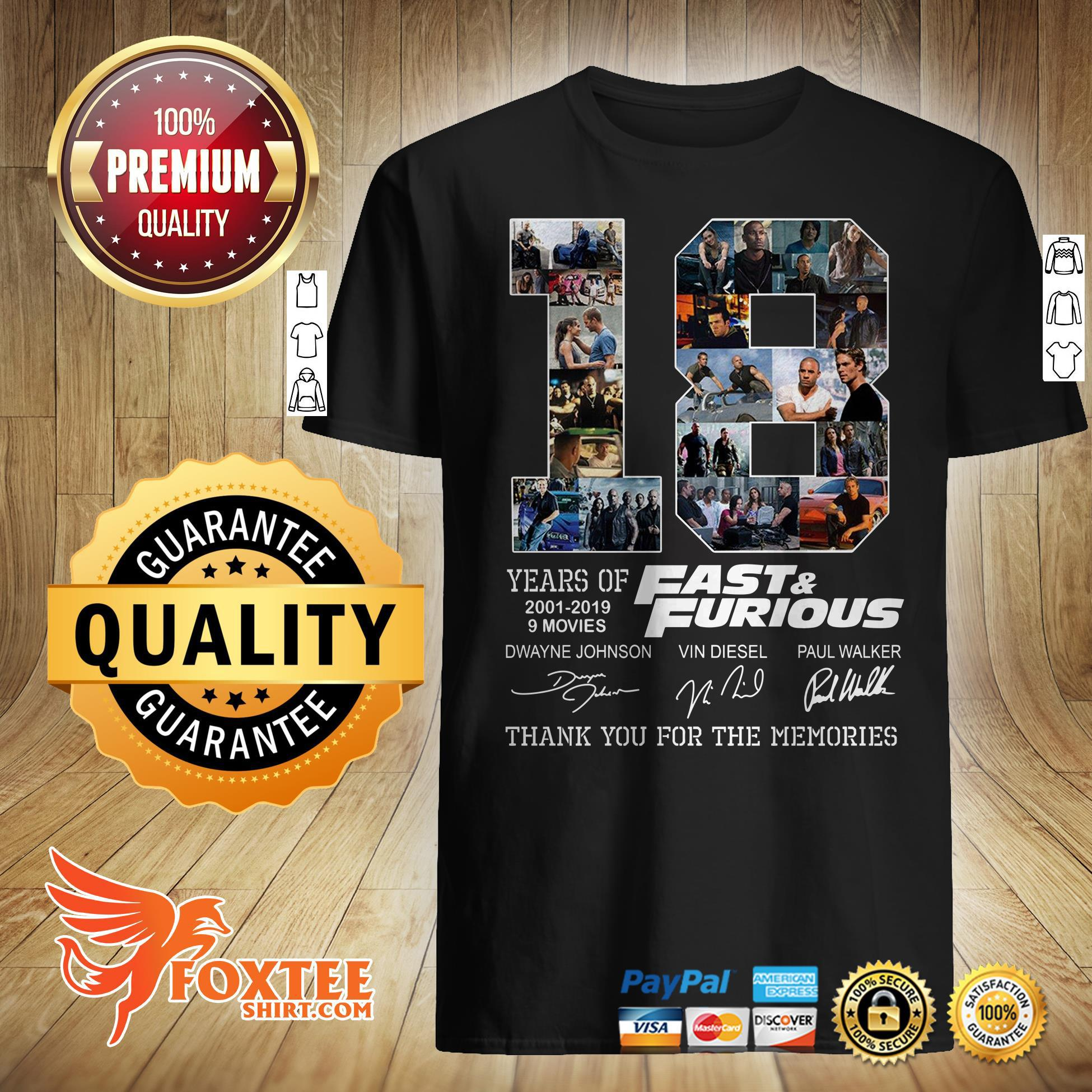Fast And Furious 18 Years 9Movies Thank You For The Memories Shirt