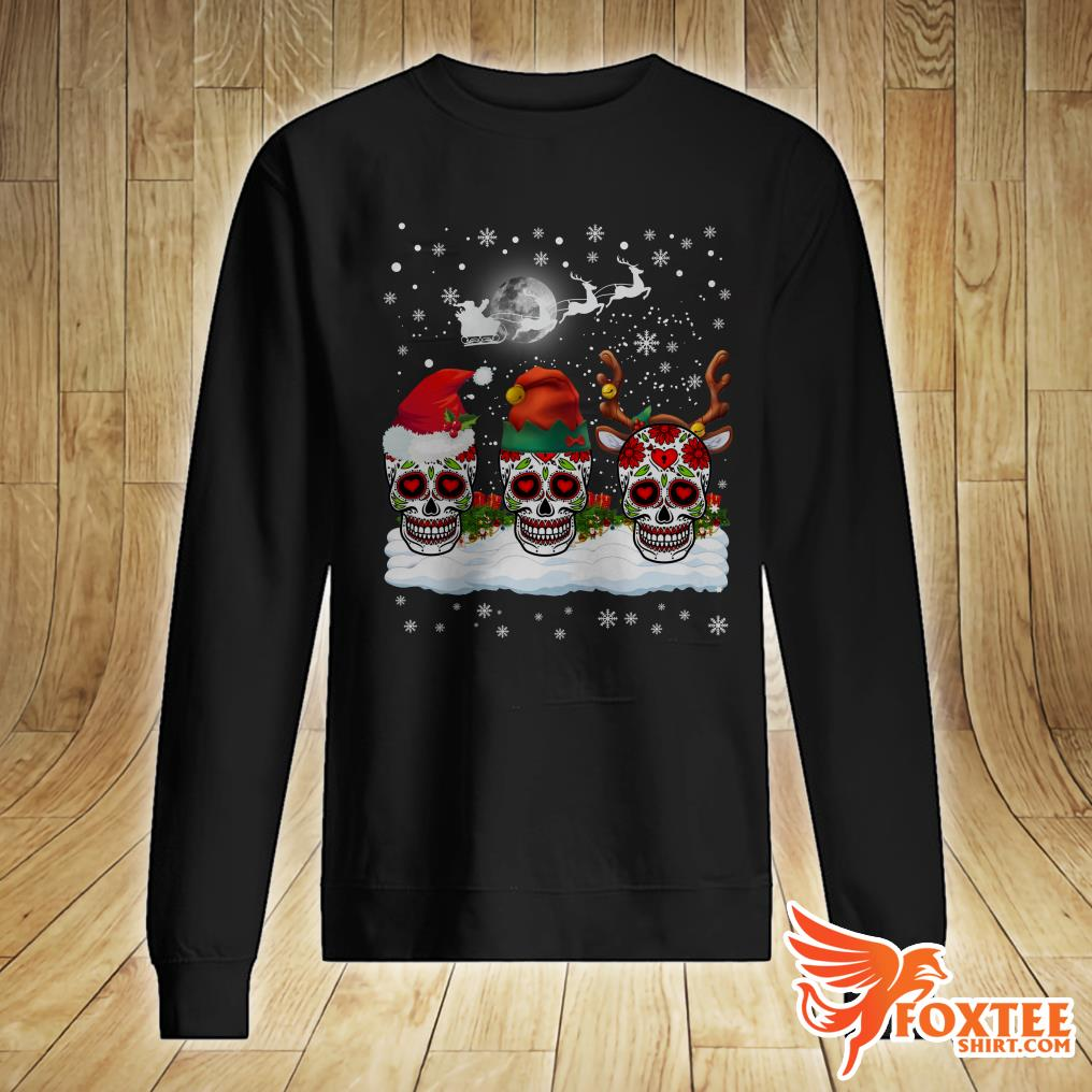 Christmas Three Mexican Flower Sugar Skull In Snow Xmas Gift Sweater