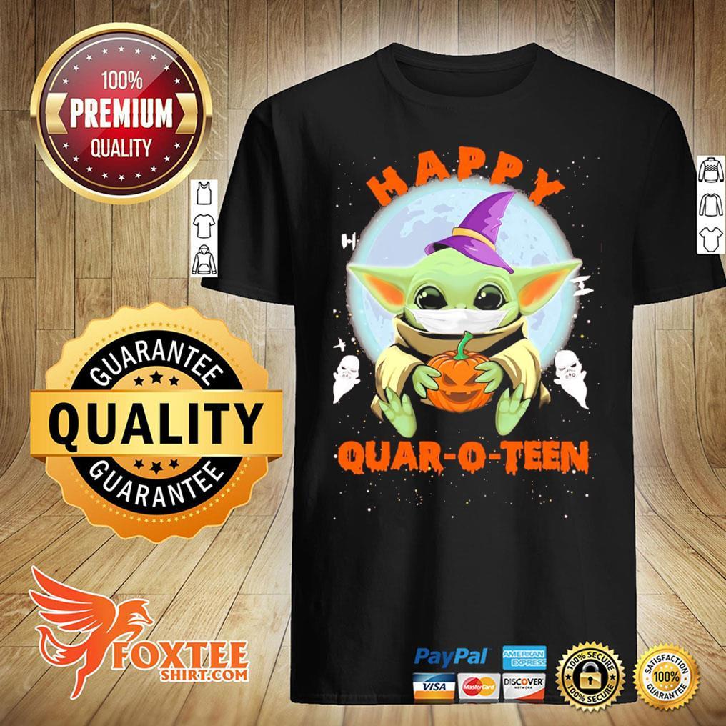 Baby Yoda Hug Pumpkin Face Mask Happy Quarto-teen Halloween Shirt
