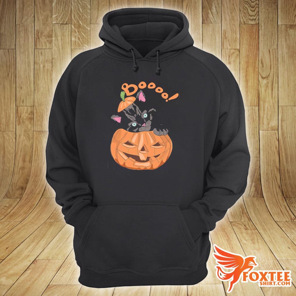 Black Cat Boooo Pumpkin Halloween Shirt hoodie