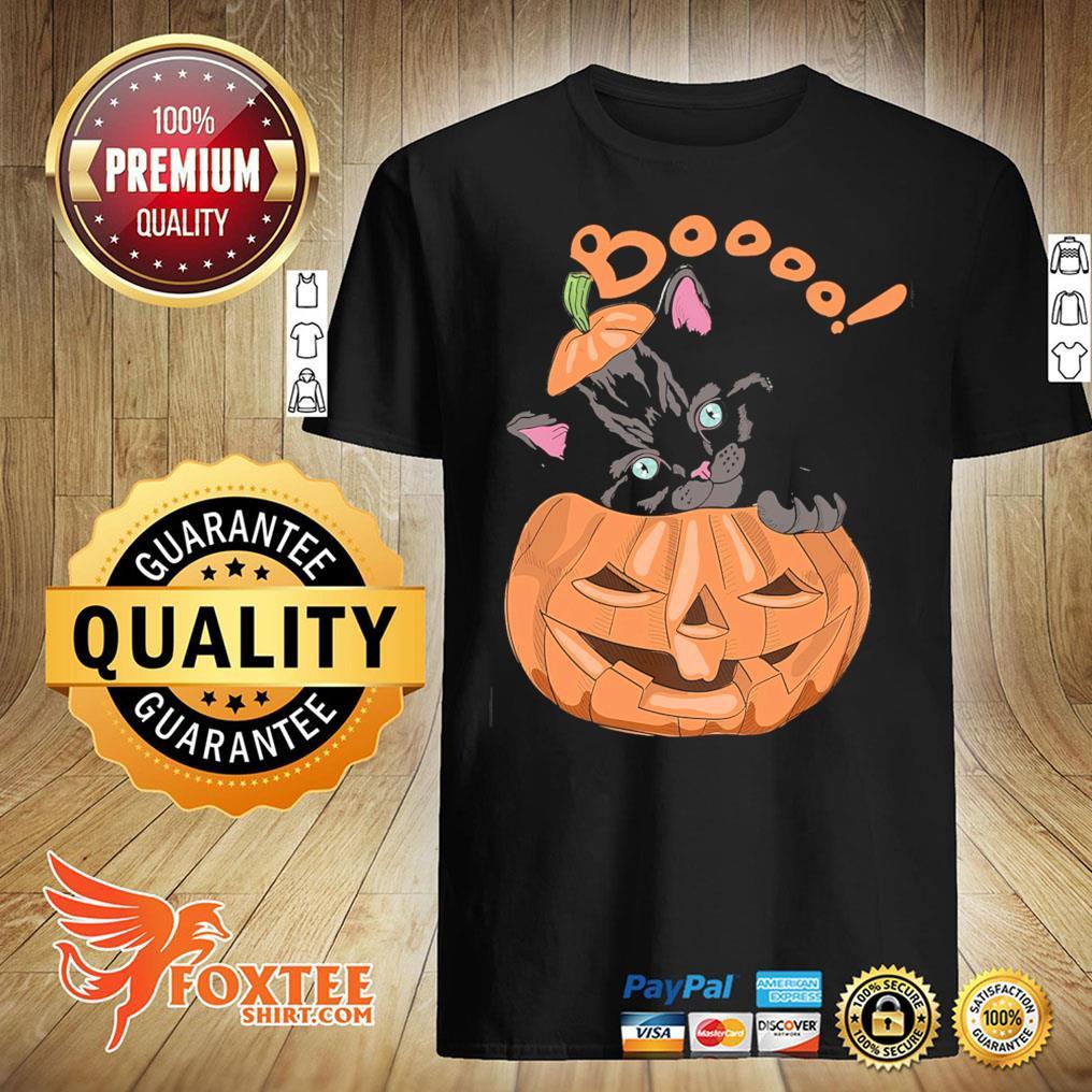 Black Cat Boooo Pumpkin Halloween Shirt