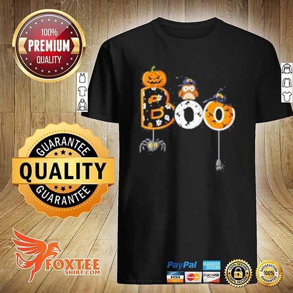Halloween Boo Owl With Witch Hat Spiders Boys Girls Kids T-Shirt