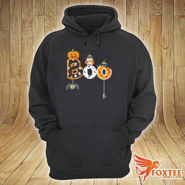 Halloween Boo Owl With Witch Hat Spiders Boys Girls Kids T-Shirt hoodie