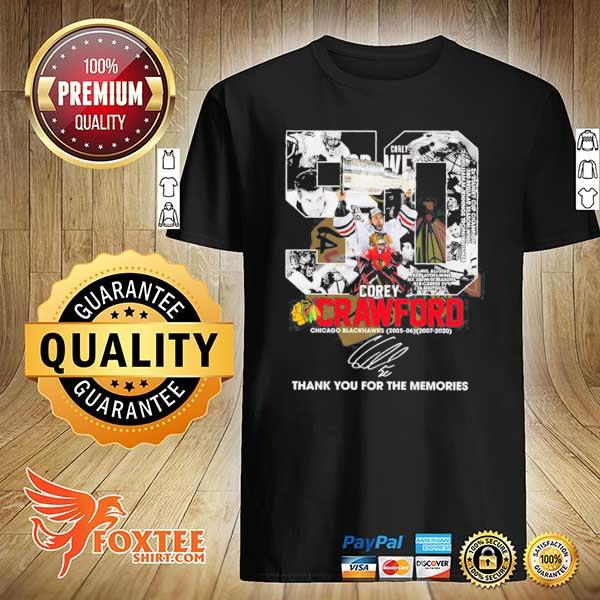 50 COREY CRAWFORD CHICAGO BLACKHAWKS 2005-2020 THANK YOU FOR THE MEMORIES SIGNATURE SHIRT