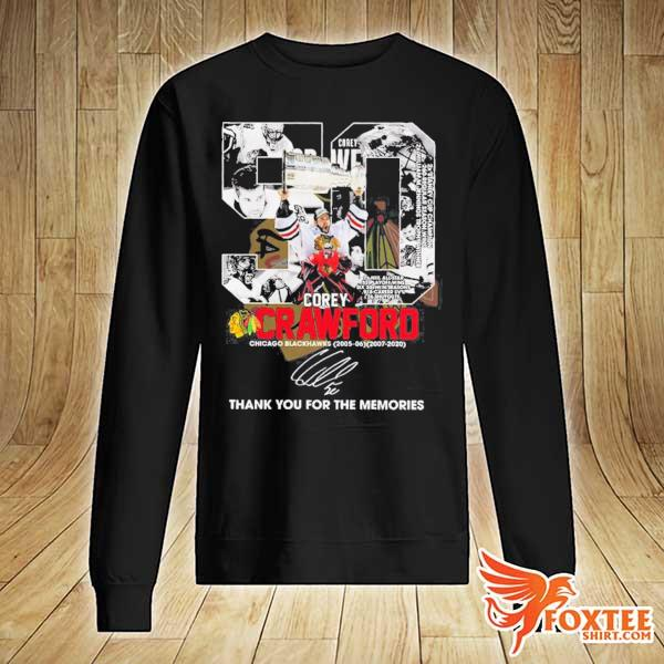 50 COREY CRAWFORD CHICAGO BLACKHAWKS 2005-2020 THANK YOU FOR THE MEMORIES SIGNATURE SHIRT sweater