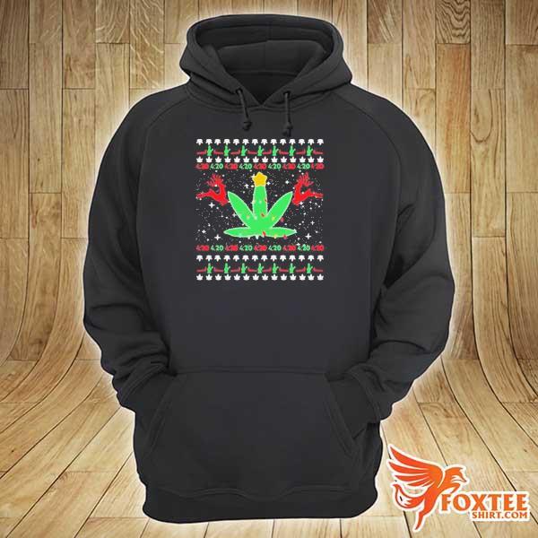 CANNABIS LIGHT REINDEER CHRISTMAS SHIRT hoodie