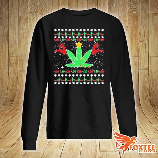 CANNABIS LIGHT REINDEER CHRISTMAS SHIRT sweater