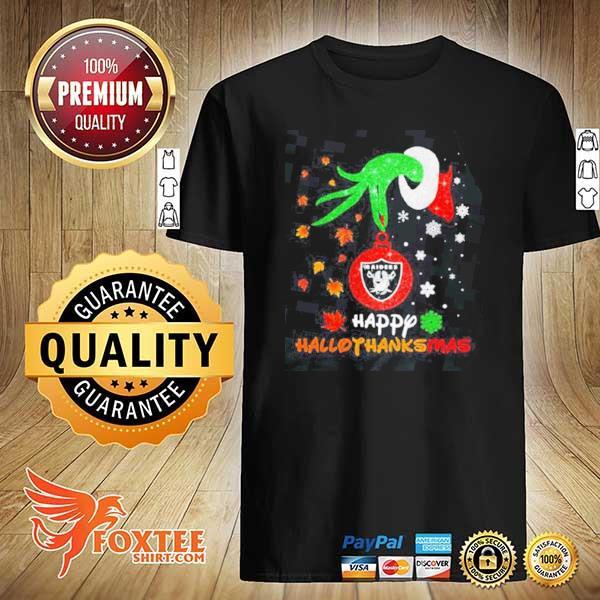 Grinch holding las vegas raiders logo happy hallothanksmas halloween thanksgiving christmas shirt