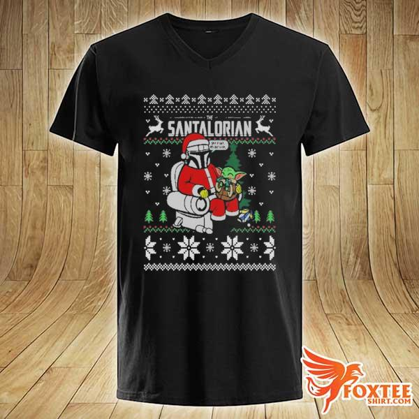 2020 the santalorian the mandalorian christmas perfect weight the mandalorian ugly christmas sweats v-neck