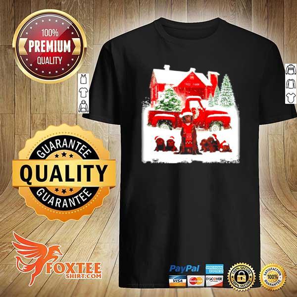 Chocolate Labrador Santa hat red Truck tree farm Christmas shirt
