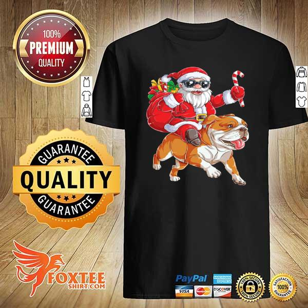 Original claus riding bulldog merry christmas sweatshirt