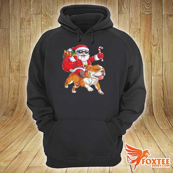Original claus riding bulldog merry christmas sweats hoodie
