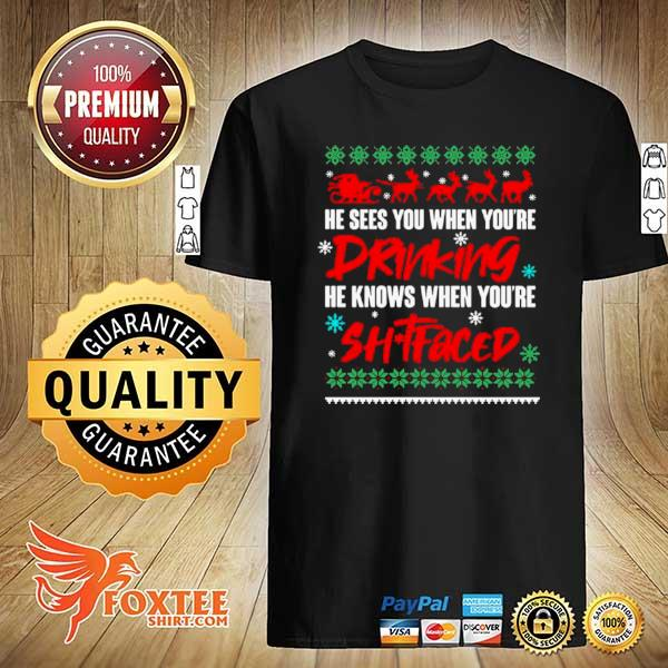Original he sees you when drinking he knows when you're xmas ugly sweatshirt
