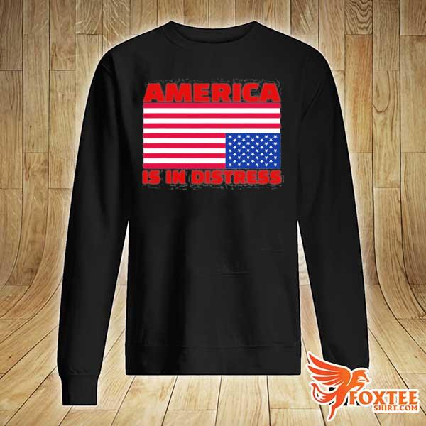 America is in distress. upside down American flag s sweater