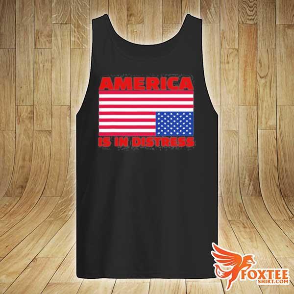 America is in distress. upside down American flag s tank-top
