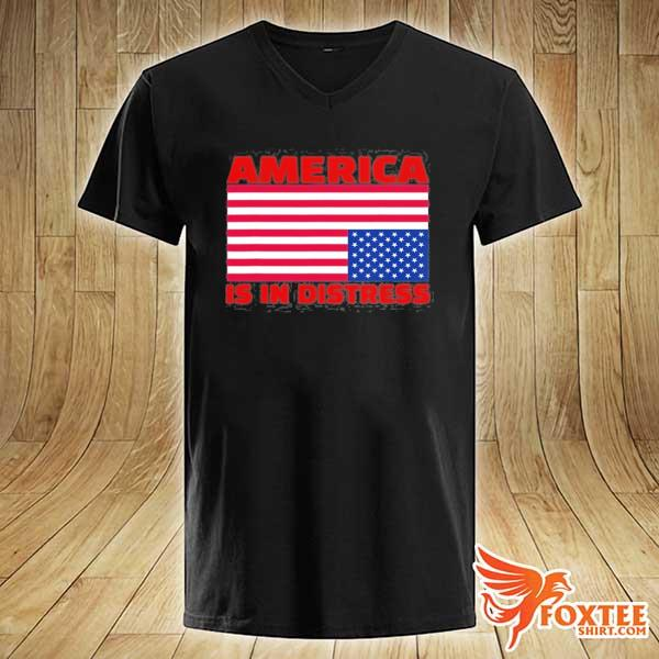 America is in distress. upside down American flag s v-neck