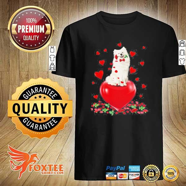 American eskimo dog holding a rose in mouth heart valentine's day shirt