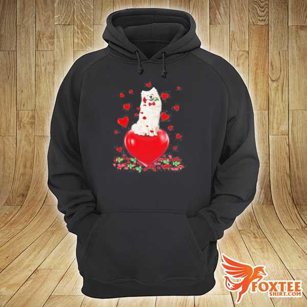 American eskimo dog holding a rose in mouth heart valentine's day s hoodie