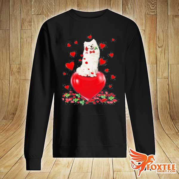 American eskimo dog holding a rose in mouth heart valentine's day s sweater
