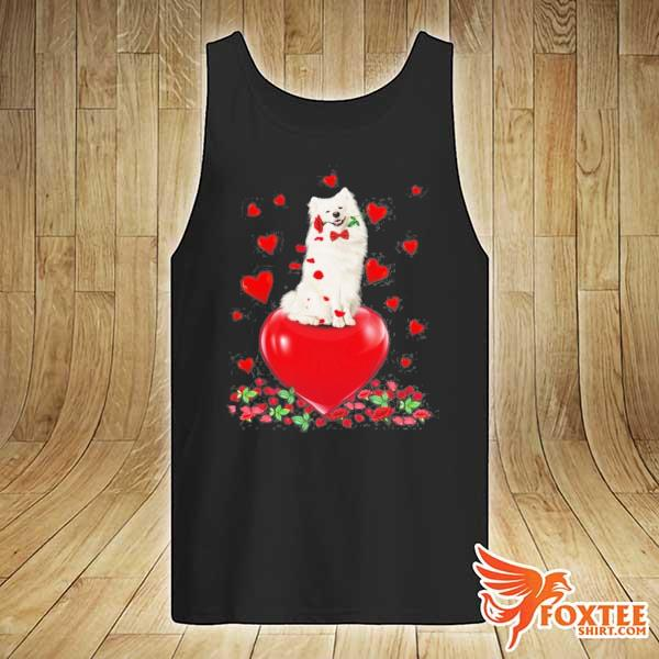 American eskimo dog holding a rose in mouth heart valentine's day s tank-top