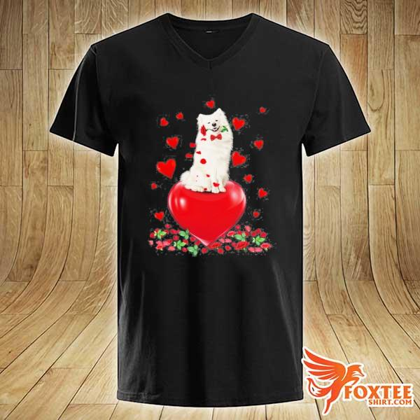 American eskimo dog holding a rose in mouth heart valentine's day s v-neck