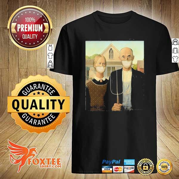 Americana wearing masks famous painting wear a mask shirt