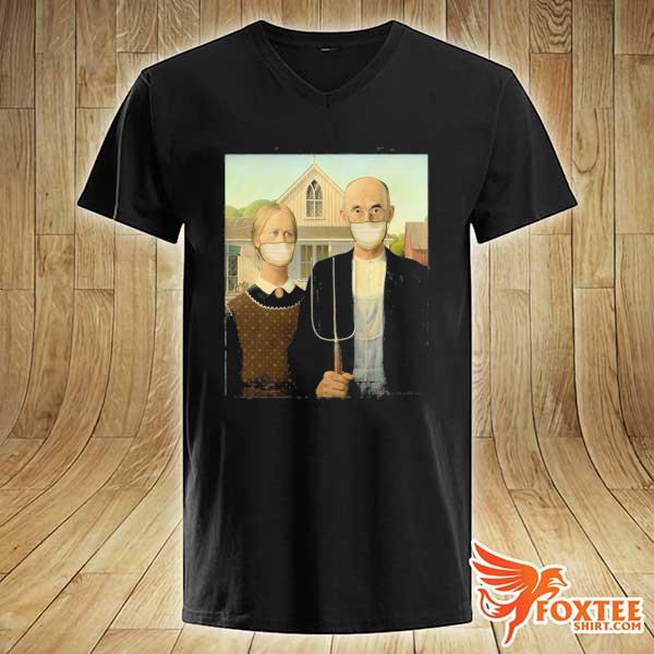 Americana wearing masks famous painting wear a mask s v-neck