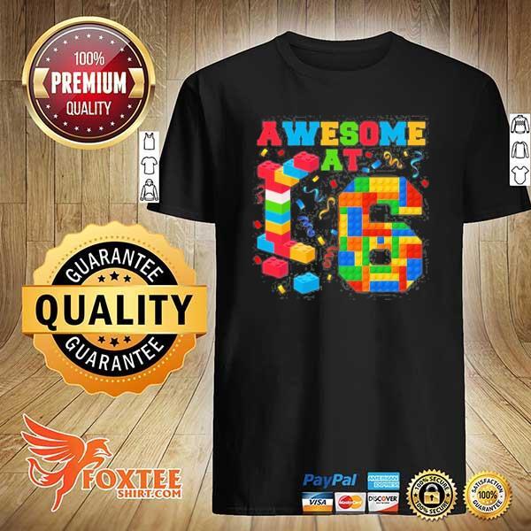 Awesome at 6 kids 6th birthday building blocks bricks shirt