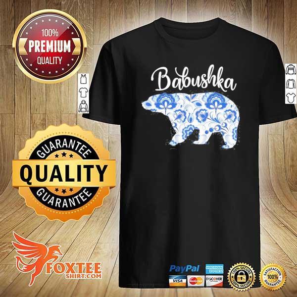 Babushka bear traditional russian floral pattern grandma shirt