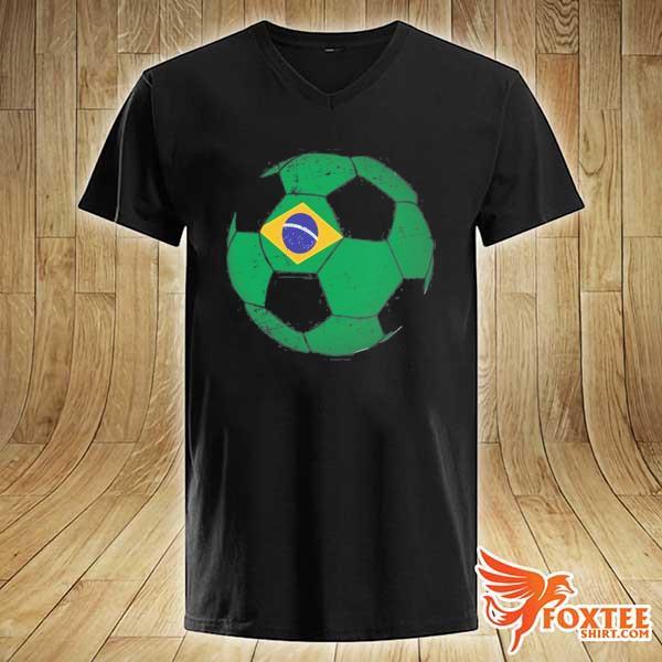 Brazil soccer ball flag jersey brazilian football s v-neck