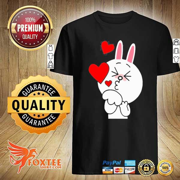 Cute cony bunny rabbit brown bear lover blowing kisses kiss shirt