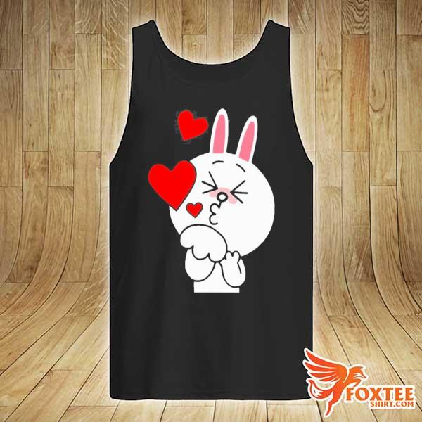 Cute cony bunny rabbit brown bear lover blowing kisses kiss s tank-top