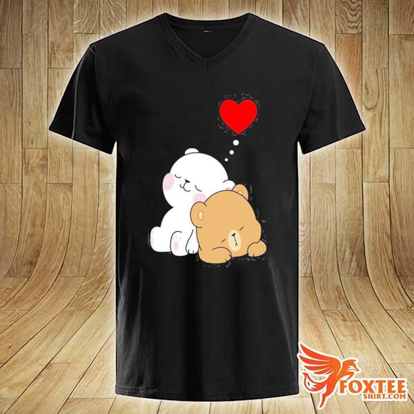 Cute milk mocha bear dream lovers love hugs kisses valentine s v-neck